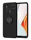 Eiroo Liquid Ring OnePlus Nord N100 Standlı Siyah Silikon Kılıf