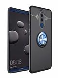 Eiroo Liquid Ring Huawei Mate 10 Pro Standlı Lacivert-Siyah Silikon Kılıf