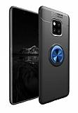 Eiroo Liquid Ring Huawei Mate 20 Pro Standlı Lacivert-Siyah Silikon Kılıf