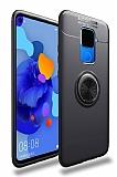 Eiroo Liquid Ring Huawei Mate 30 Lite Standlı Siyah Silikon Kılıf