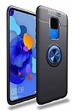 Eiroo Liquid Ring Huawei Mate 30 Lite Standlı Siyah-Lacivert Silikon Kılıf