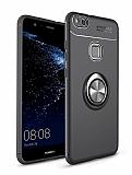 Eiroo Liquid Ring Huawei P10 Lite Standlı Lacivert-Siyah Silikon Kılıf