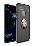 Eiroo Liquid Ring Huawei P10 Lite Standlı Rose Gold-Siyah Silikon Kılıf