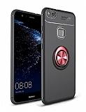 Eiroo Liquid Ring Huawei P10 Lite Standlı Kırmızı-Siyah Silikon Kılıf
