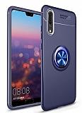Eiroo Liquid Ring Huawei P20 Lite Standlı Lacivert Silikon Kılıf