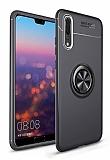 Eiroo Liquid Ring Huawei P20 Pro Standlı Siyah Silikon Kılıf