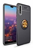 Eiroo Liquid Ring Huawei P20 Pro Standlı Gold-Siyah Silikon Kılıf