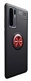 Eiroo Liquid Ring Huawei P30 Pro Standlı Kırmızı-Siyah Silikon Kılıf