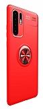 Eiroo Liquid Ring Huawei P30 Pro Standlı Kırmızı Silikon Kılıf