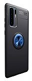Eiroo Liquid Ring Huawei P30 Pro Standlı Lacivert-Siyah Silikon Kılıf