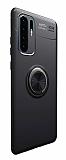 Eiroo Liquid Ring Huawei P30 Pro Standlı Siyah Silikon Kılıf