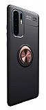 Eiroo Liquid Ring Huawei P30 Pro Standlı Rose Gold-Siyah Silikon Kılıf