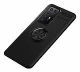 Eiroo Liquid Ring Huawei P40 Standlı Siyah Silikon Kılıf