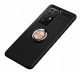 Eiroo Liquid Ring Huawei P40 Standlı Siyah-Rose Gold Silikon Kılıf