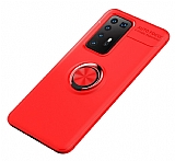 Eiroo Liquid Ring Huawei P40 Standlı Kırmızı Silikon Kılıf