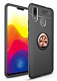 Eiroo Liquid Ring Huawei Y7 Prime 2019 Standlı Rose Gold-Siyah Silikon Kılıf