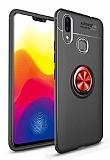Eiroo Liquid Ring Huawei Y7 Prime 2019 Standlı Kırmızı-Siyah Silikon Kılıf