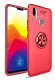 Eiroo Liquid Ring Huawei Y7 Prime 2019 Standlı Kırmızı Silikon Kılıf
