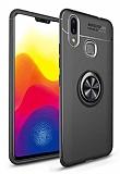 Eiroo Liquid Ring Huawei Y7 Prime 2019 Standlı Siyah Silikon Kılıf