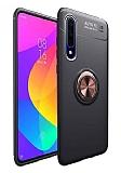 Eiroo Liquid Ring Huawei Y8P Standlı Siyah-Rose Gold Silikon Kılıf