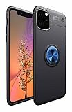 Eiroo Liquid Ring iPhone 11 Pro Max Standlı Lacivert-Siyah Silikon Kılıf