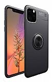 Eiroo Liquid Ring iPhone 11 Pro Standlı Siyah Silikon Kılıf