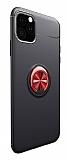 Eiroo Liquid Ring iPhone 11 Standlı Kırmızı-Siyah Silikon Kılıf