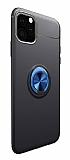 Eiroo Liquid Ring iPhone 11 Standlı Lacivert-Siyah Silikon Kılıf