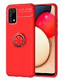 Eiroo Liquid Ring Samsung Galaxy A02s Standlı Kırmızı Silikon Kılıf