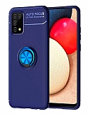 Eiroo Liquid Ring Samsung Galaxy A02s Standlı Mavi Silikon Kılıf