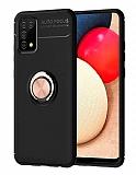 Eiroo Liquid Ring Samsung Galaxy A02s Standlı Siyah-Rose Gold Silikon Kılıf