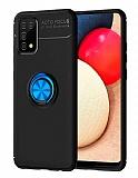 Eiroo Liquid Ring Samsung Galaxy A02s Standlı Siyah-Mavi Silikon Kılıf
