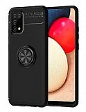 Eiroo Liquid Ring Samsung Galaxy A02s Standlı Siyah Silikon Kılıf