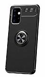 Eiroo Liquid Ring Samsung Galaxy A32 5G Standlı Siyah Silikon Kılıf