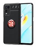 Eiroo Liquid Ring Oppo A54 Standlı Siyah-Kırmızı Silikon Kılıf