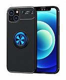 Eiroo Liquid Ring iPhone 13 Mini Standlı Siyah-Mavi Silikon Kılıf