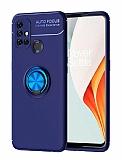 Eiroo Liquid Ring OnePlus Nord N10 5G Standlı Mavi Silikon Kılıf