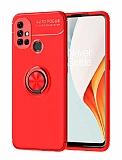 Eiroo Liquid Ring OnePlus Nord N10 5G Standlı Siyah-Kırmızı Silikon Kılıf