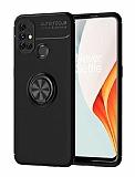 Eiroo Liquid Ring OnePlus Nord N10 5G Standlı Siyah Silikon Kılıf