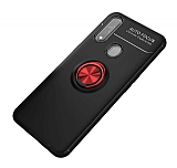 Eiroo Liquid Ring Oppo A31 Standlı Kırmızı-Siyah Silikon Kılıf