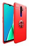 Eiroo Liquid Ring Oppo A9 2020 Standlı Kırmızı Silikon Kılıf