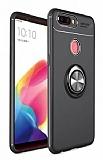 Eiroo Liquid Ring Oppo AX7 / Oppo A5s Standlı Siyah Silikon Kılıf