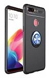Eiroo Liquid Ring Oppo AX7 / Oppo A5s Standlı Siyah-Lacivert Silikon Kılıf