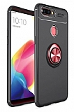 Eiroo Liquid Ring Oppo AX7 / Oppo A5s Standlı Siyah-Kırmızı Silikon Kılıf