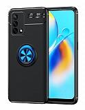 Eiroo Liquid Ring Oppo F19 Standlı Siyah-Lacivert Silikon Kılıf