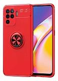 Eiroo Liquid Ring Oppo Reno 5 Lite Standlı Kırmızı Silikon Kılıf