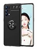 Eiroo Liquid Ring Oppo Reno 5 Pro 5G Standlı Siyah Silikon Kılıf