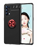Eiroo Liquid Ring Oppo Reno 5 Pro 5G Standlı Kırmızı-Siyah Silikon Kılıf
