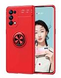 Eiroo Liquid Ring Oppo Reno 5 Pro 5G Standlı Kırmızı Silikon Kılıf