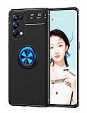 Eiroo Liquid Ring Oppo Reno 5 Pro 5G Standlı Mavi-Siyah Silikon Kılıf